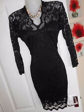 **STUNNING** ASOS SIZE 12 BLACK LACE LINED WIGGLE BODYCON DRESS *FAST POSTAGE**