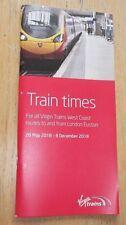Virgin Trains West Coast Passenger Timetable booklet:all services Summer 2018