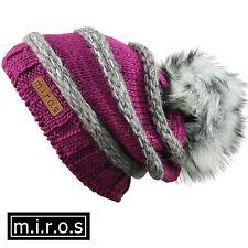 Damen Long Beanie Mütze Käthe Lila Grau / handgemachte Wintermütze mit Pom Pom