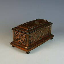 Antique French Copper Jewelry Casket.Repousse Relief Box