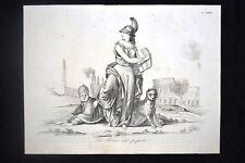 Incisione d'allegoria e satira Roma 29 dicembre 1848 Don Pirlone 1851