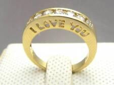 """I LOVE YOU"" LAD DIAMOND 14Ct 9CT YELLOW GOLD GF WEDDING ENGAGEMENT RING 8 & Q"