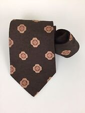 VTG Yves St. Laurent Paris Neck Tie Fat Wide Brown and Tan Made in Canada 59""