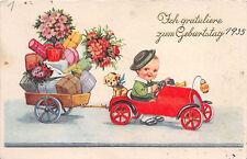Junge mit Auto Hund zum Geburtstag Postkarte 1935