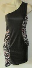 Women Bebe Kardashian Black Shiny Tribal One Shoulder Faux Leather Dress XS