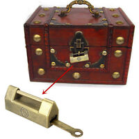 Antique Old Vintage Style Brass Metal Wedding Jewelry Box Padlock Lock + Key &