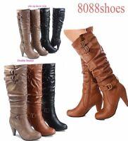 Stylish Chunky Heel Knee High Zipper Dress Boots Women's Shoes Size 5 - 10 NEW