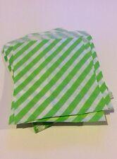 100 5x7 lime green diagonal Stripe merchandise/treat/candy /gift bag