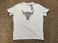 Under Armour Project Rock Shirt Mens M Brahma Bull Logo Ua White Nwt