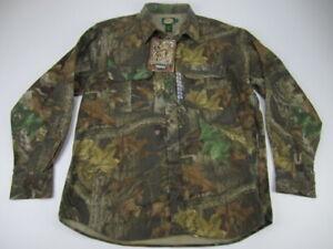 Mens XL Cabelas Chamois Cloth Advantage Timber camo button shirt