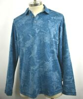 Tommy Bahama Mens Leafing in the Sun Seagroove Blue Long Sleeve Polo Shirt XL