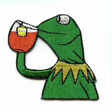 Frog Sipping Tea DIY Iron On Embroidered Applique Patch