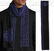 VERSACE Mens WOOL blnd Black & Purple GREEK KEY MEDUSA reversible scarf NWT Auth