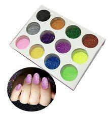 ✅Set of 12 jars Glitter Colours Dust Powder Pots Nail Art Tips Decoration