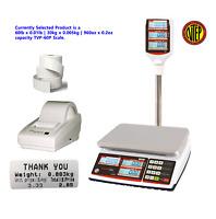 VisionTechShop TVP-60P Pole Scale, 60lb x 0.01lb, DLP-50 Printer, Label 12Rolls
