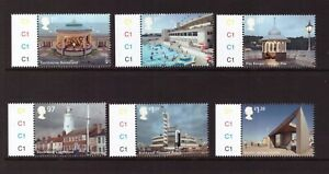 GB 2014 Seaside Architecture cylinder set MNH mint stamps