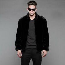 Winter Men's Hooded Faux Fur Jacket Business Warm Parka Black Outwear Overcoat