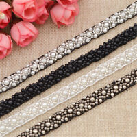 1Yd DIY Sewing Applique Pearls Beaded Lace Trim Ribbon Wedding Dress Decor Craft