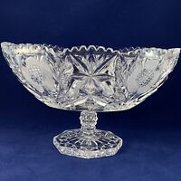 """Crystal Pedestal Compote OVAL Sawtooth Rim & frosted flowers10.25"""" Vintage"""