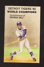 Detroit Tigers--1985 Pocket Schedule--Irvings Deli