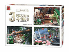 3 in 1 Triple Pack 1000 Piece Animal Collection Jigsaw Puzzles & Posters 05206