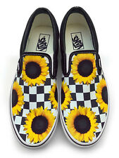 Checkerboard Sunflower Slip-on Vans Brand Shoes