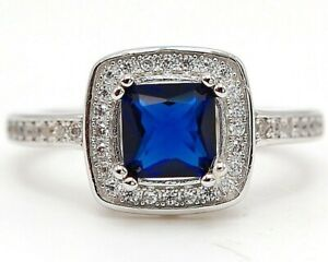 Flawless 2CT Blue Sapphire & Topaz 925 Sterling Silver Ring Jewelry Sz 8, M6