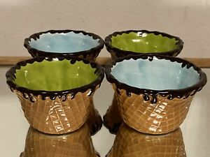 Set of 4 Sur La Table Waffle Cone Ice Cream Bowls