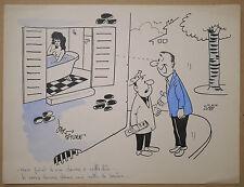 Dessin Ancien Illustration JAC FAURE Scène Humoristique Nu Féminin Bain