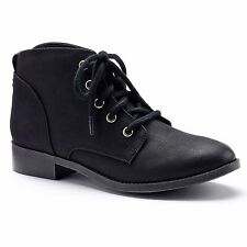 Candie's Lace-Up Ankle Boots Black or Taupe Faux Leather Womens 7-10 NEW $59.99