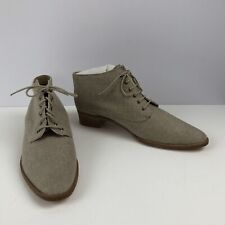 Vtg 80s 90s Hunts Club Beige Donna Ankle Booties Boots Shoes Sz 11 Steampunk