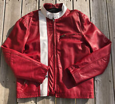 GAP Product (RED) Leather Jacket Cafe Racer Moto Jacket Motorcycle Mens  Sz L