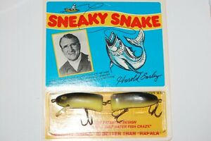 "old harold ensley 5"" sneaky snake lure chartreuse black back cabin decor cottage"