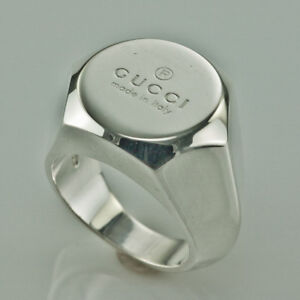 FASHION DESIGNER GUCCI STERLING SILVER HEAVY UNISEX SIGNET RING SIZE US5.5 ITALY