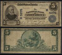 Ashtabula OH $5 1902 PB National Bank Note Ch #5075 National Bank VG