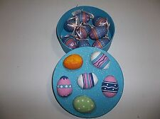 Vintage Paper Mache Easter Egg Ornaments Set Of 8 With Box