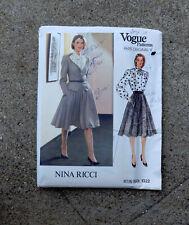Original 1980s Vogue Paris Original Pattern Jacket Blouse Skirt Nina Ricci 32.5