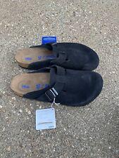 Birkenstock Boston Suede Size 43 Regular Soft Footbed Slide Clog Black