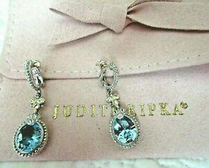 Judith Ripka Oval Blue Topaz Sterling Silver 18K Pierced Earrings New w JR Pouch