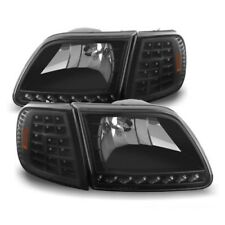 Ford 97-03 F150 / Eepedition Black LED Headlights + LED Corner Signal Set