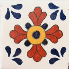 #C036) Mexican Tile sample Ceramic Handmade 4x4 inch, GET MANY AS YOU NEED !!