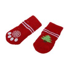4 PCS Tree Pattern Knitted Nonslip Walking Bootie Sock Red for Dog W9D3