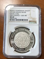 1971 MEXICO SILVER MEDAL - GROVE-1104a - LUIS I 8 REALES NGC MS 68 - TOP POP