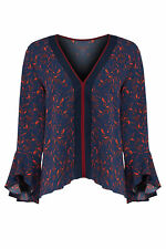 Tanya Taylor Women's Blouse Red Blue Size 4 Piped V-Neck Ruffle Silk $325- #809
