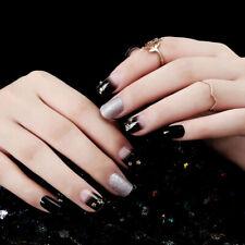 24pcs Black Silver Star Nails Frame False Nail Tips Full Cover Fake Nails GlueZB