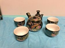 Black Kutani Tea Pot and Cups