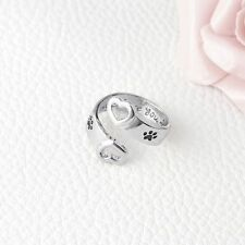 """Stamped Pet Memorial Ring Dog Paw Print """"I Will Love You Forever"""" Hollow Heart"""