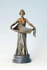 bronze art nouveau deco girl sculpture, SIGNED M.Bouval
