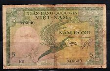 Early Viet Nam- Ngan-Hang Quoc-Gia- 5 Bank Note