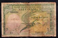 Early Viet Nam- Ngan-Hang Quoc-Gia- 5 Bank Note